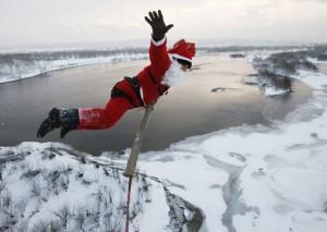 Прыжки зимой на резинке с моста в Запорогжье